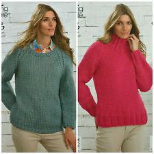 Tejer patrón ladies long sleeve scoopneck Jumper fácil Knit superchunky 4063