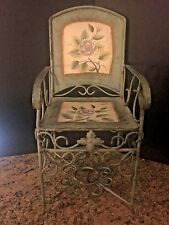 Vintage Victorian Style Ornate Metal Doll/Home/Yard Decor Chair Painted Flowers