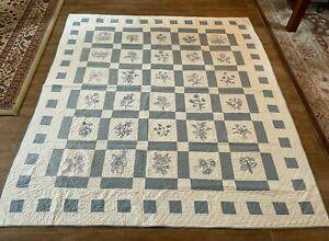 """81 x 73"""" Vintage handmade embroidered flower quilt blue white needlework full"""