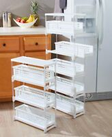 3 or 5 Tier Space Saving Slim Sliding Drawer Storage Rack Kitchen Laundry Bath