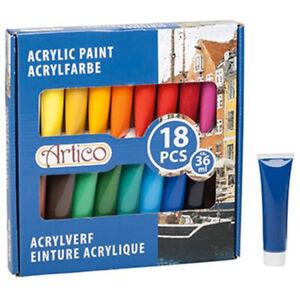 Pittura Acrilica Vernice Set 18 Pezzi Tubi Colori Assortiti Tubo 36 ml Artico