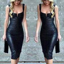 Women PU Leather Bodycon Long Sleeve Pencil Stretch Party Dress Club Wet look