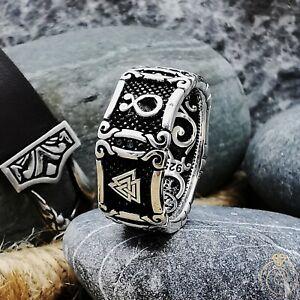Unique Silver Viking Promise Signet Band Couple Jewelry Odin Valknut Symbol Thor
