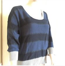 DKNY Jeans S Black, Navy, And Silver Metallic Sweater Slightly Shorter Front