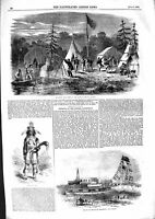 Original Old Antique Print 1855 Madras Exhibition George Camp Maurice Iroquois
