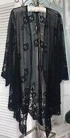 NEW Plus Size 2X 1X Black Lace Open Kimono Duster Mesh Topper