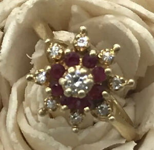 14K Ruby & Diamond Designer Ring Size 6