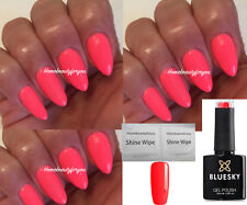 BLUESKY A74 BRIGHT NEON CORAL PINK ROSE NAIL GEL POLISH LED UV SOAK OFF + WIPES