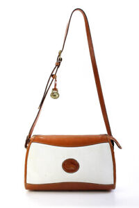 Dooney & Bourke Small  Zip Up Pebbled Leather Shoulder Handbag Tan White