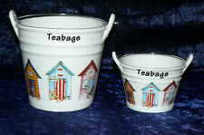 Beach hut teabag tidy Bucket, decorated with beach huts in choice of 2 sizes