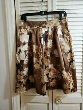 Talbots Brown Floral Lined A Line Skirt Sz 8P Machine Wash