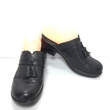 Women's B.O.C Born Concept Black Leather Tassel Slip On Clogs Size 8 M