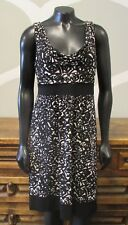 MICHAEL KORS Womens Medium Black White Sleeveless Print Stretch Knit Dress
