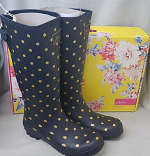 Joules 204091 Gold Spot French Navy Welly Wellingtons Wellies Festival Box Sz 8