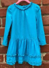 J. Khaki Girls Sz 4 Corduroy Long Sleeve 100% Cotton Dress Ruffles Blue
