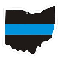 Ohio OH State Thin Blue Line Police Sticker / Decal #212 Made in U.S.A.