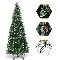 Christmas Tree With Stand Artificial 5 Ft Xmas Pine Cones Tree Slim Pencil Snow