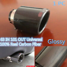 63mm Outlet 101mm 100% Real Carbon Fiber Glossy Black Exhaust Tips Muffler Black