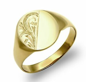 Solid 9ct Yellow Gold Oval Diamond Cut Men's Signet Ring - UK Jewellers