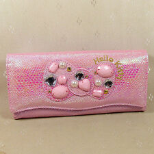 HelloKitty Hasp Crystals  Wallet Purse 2017  New Cute Pu Long Size Pink