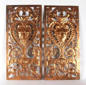 Arts & Crafts Aesthetic Pair Copper Repousse Panels W A S Benson Morris Co