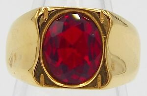 MEN RING RUBY SYN STAINLESS STEEL GOLD ENGAGEMENT WEDDING TANK EP BAND SIZE 9.75