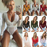 Womens Long Sleeve V Neck Lace Bodycon Party Ladies Sexy Bodysuit Top Jumpsuits