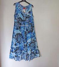 MAGNA softes Lagenlook Stretch Kleid A-Linie Long-Style blau 52-54 (5)