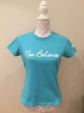 NEW BALANCE Size 10 Tee T Shirt Top Sports Yoga Running Gym Blue Cotton