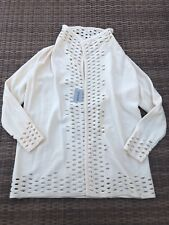 Chicos Wool Open Cardigan Jacket Sweater Cream With Cutout Details Size 1 NWT