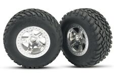 Traxxas [TRA] SCT Chrome Beadlock Wheels and Tires (2) Slash 4x4 5873 TRA5873