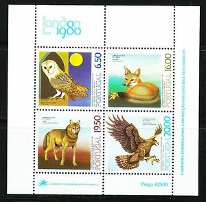 Portugal 1980 MNH Mi Block 30 Sc 1462-1465 Lisbon Zoo.Owl,Egale,Wolf & Fox **
