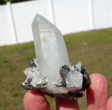 Huaron Clear Quartz Crystal Point Cluster on Sphalerite & Pyrite Peru Big Point