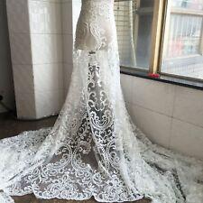 135cm Blanco Crudo Con Cuentas Bordado Tul Boda Tela Encaje Lentejuelas novia 1