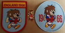 WORLD CUP WILLIE 1966 ENGLAND PATCH x Two & Enamel Badge FREE POSTAGE UK