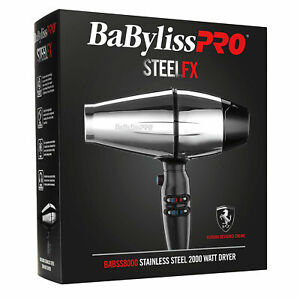 BaByliss Pro STEELFX BABSS8000 Stainless Steel 2000 Watt Hair Dryer