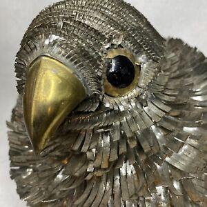 Mid Century Brutalist Metal Tin Brass Bird Attr. to Sergio Bustamante, C. Jere