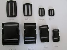Black Plastic slider bar/Buckle Clips sizes 20mm/25mm/40mm/50mm/
