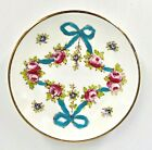 Vintage Crown Staffordshire Trinket Dish or small plate Blue Turquoise Bow F4547