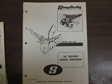 "Simplicity 36"" Snow thrower blower owners & parts & maintenance manual Model 563"