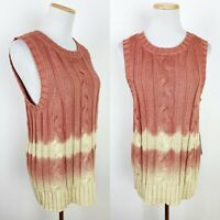 NWT CALVIN KLEIN Ombre Cable Knit Sweater Vest L Sleeveless Sweater Dusty Rose