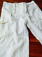 J CREW Womens White Cargo Pants Linen Blend & Drawstring + Pockets Size Size 4