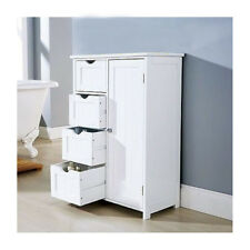 4 Drawer Bathroom Cabinet Storage Unit Wooden Chest Cupboard White Door Draw1