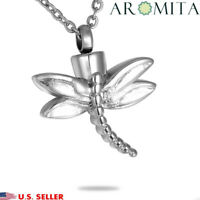 Steel Dragonfly Cremation Jewelry Keepsake Memorial Ashes Urn Holder Necklace