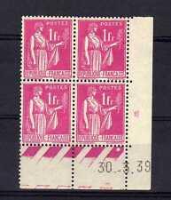 FRANCE YVERT n° 369 neuf avec charnière - bloc de 4 coin daté