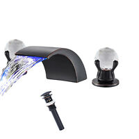 Widespread Bathroom Basin Faucet LED Waterfall Sink  Mixer Tap With Drain 3 Hole
