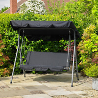Black Steel 2 Seater Swinging Hammock Bench Seat & Canopy Patio Garden Outdoor
