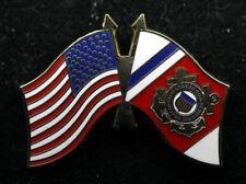 US & COAST GUARD BATTLE COLORS FLAG HAT LAPEL PIN SEAL LOGO USCG AUXILIARY GIFT