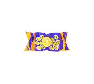 Dog Hair Bows- LSU Tiger Paw Pet Bow Purple Gold Football Elastics or Barrette