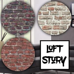 Tapete Steinoptik Backstein Muster Braun Grau Rot - Loft Story Industrial Optik